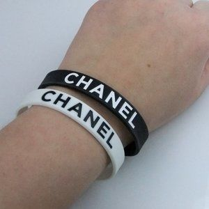 2 Black and White Color Block Silicone Bracelets